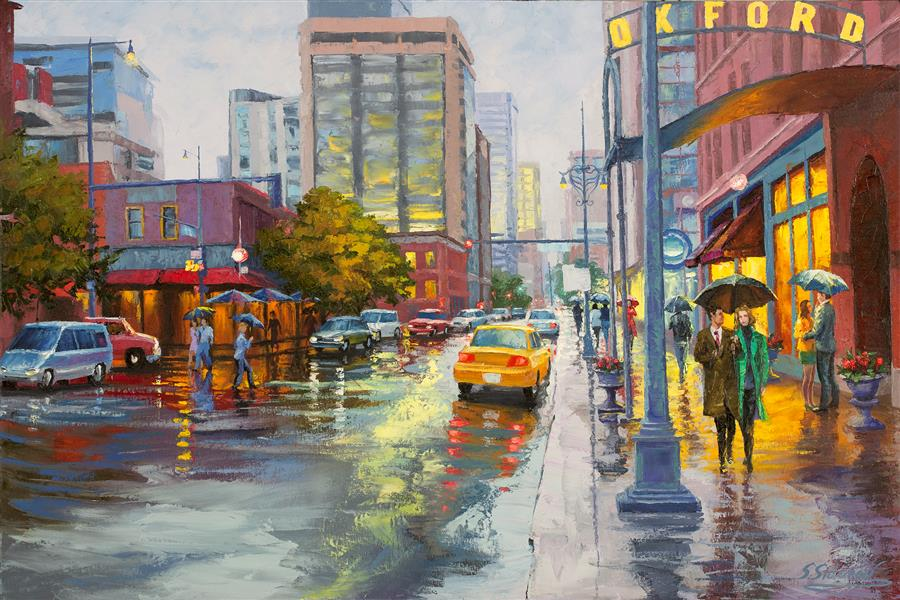 Original art for sale at UGallery.com | Oxford Cafe, Downtown Denver by Stanislav Sidorov | $1,700 | oil painting | 24' h x 36' w | ..\art\oil-painting-Oxford-Cafe-Downtown-Denver