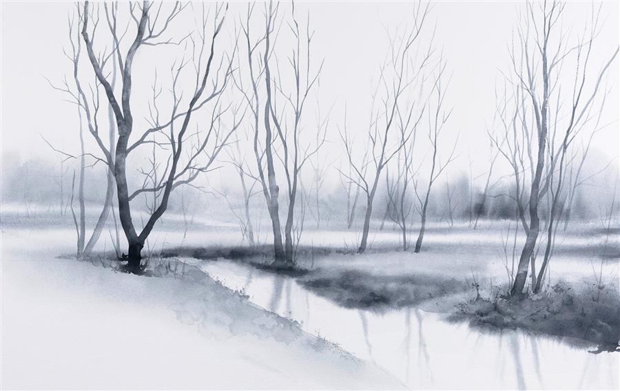 Original art for sale at UGallery.com | Stillness by Jill Poyerd | $1,300 | watercolor painting | 15' h x 24' w | ..\art\watercolor-painting-Stillness