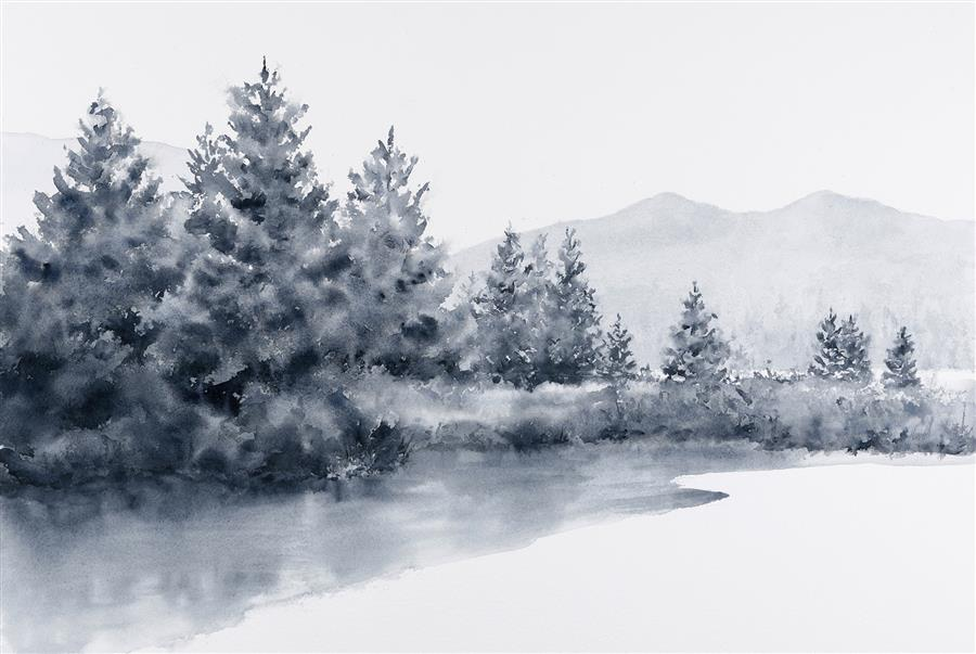Original art for sale at UGallery.com | Valley of Light by Jill Poyerd | $1,300 | watercolor painting | 16' h x 24' w | ..\art\watercolor-painting-Valley-of-Light