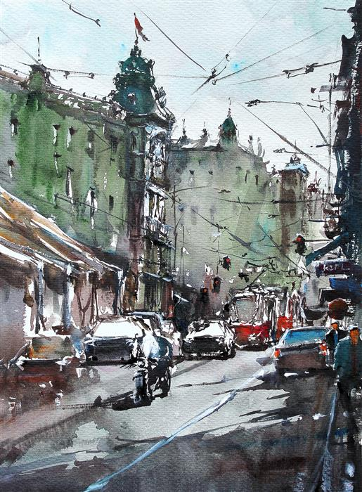 Original art for sale at UGallery.com | Prague Roads by Maximilian Damico | $750 | watercolor painting | 15' h x 11' w | ..\art\watercolor-painting-Prague-Roads