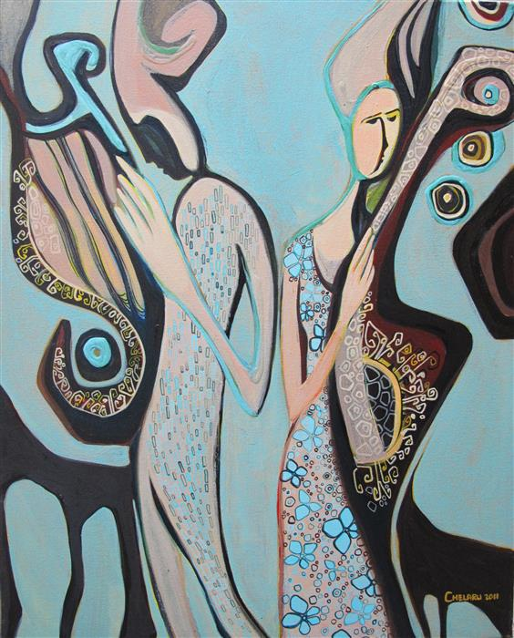 Original art for sale at UGallery.com | Something about Music by Diana Elena Chelaru | $675 | acrylic painting | 20' h x 16' w | ..\art\acrylic-painting-Something-about-Music