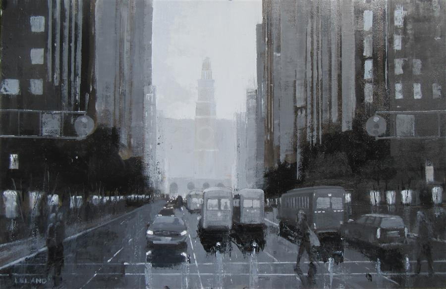 Original art for sale at UGallery.com | Crossing Market Street by JIM LELAND | $1,400 |  | 24' h x 36' w | ..\art\oil-painting-Crossing-Market-Street