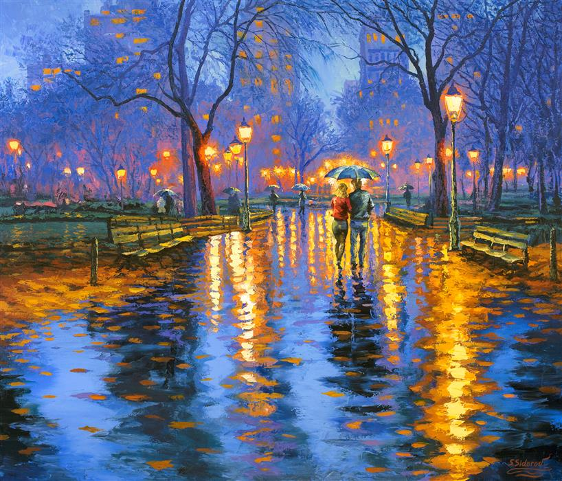 Original art for sale at UGallery.com | Light at Dusk: Central Park, New York by STANISLAV SIDOROV | $3,775 |  | 36' h x 42' w | ..\art\oil-painting-Light-at-Dusk-Central-Park-New-York