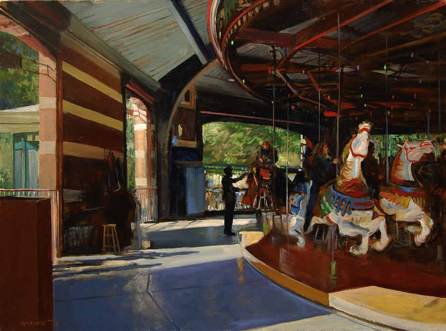 Original art for sale at UGallery.com | Central Park Carousel by ONELIO MARRERO | $1,025 |  | 18' h x 24' w | ..\art\oil-painting-Central-Park-Carousel