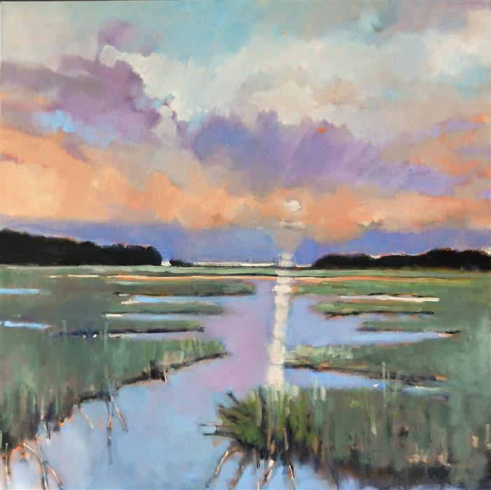 Original art for sale at UGallery.com | Color In The Marsh by MARY PRATT | $2,600 |  | 36' h x 36' w | ..\art\oil-painting-Color-In-The-Marsh