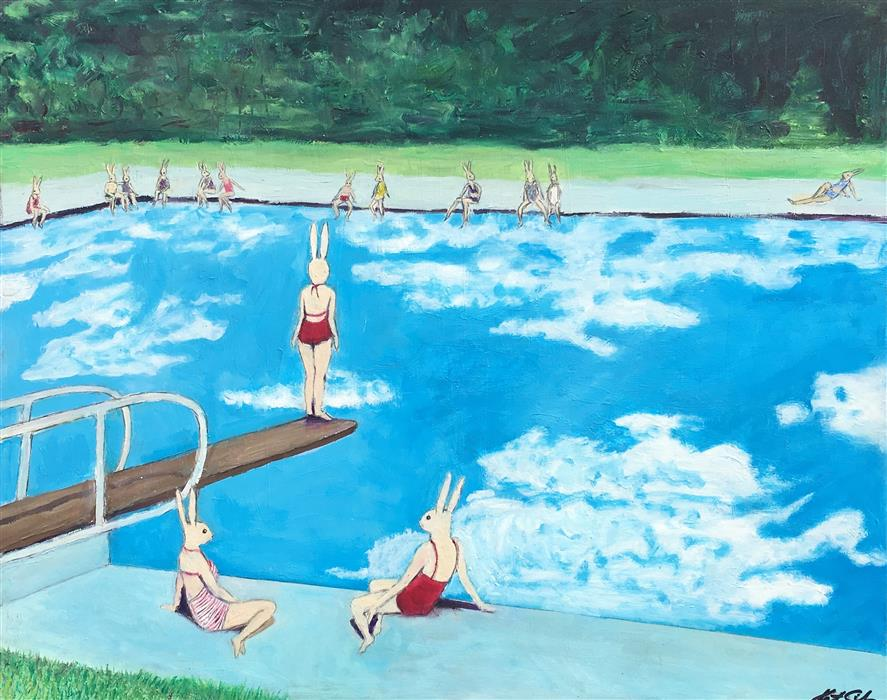 Original art for sale at UGallery.com | Sunbathing Bunnies by KAT SILVER | $975 |  | 16' h x 20' w | ..\art\oil-painting-Sunbathing-Bunnies