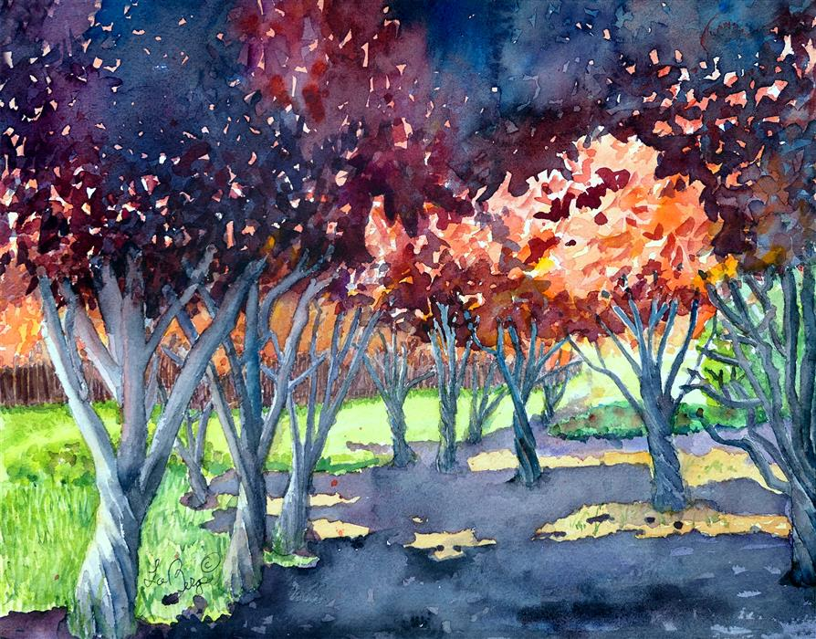 Original art for sale at UGallery.com | Forest of the Flowering Plums by NANCY MUREN | $475 |  | 11' h x 14' w | ..\art\watercolor-painting-Forest-of-the-Flowering-Plums