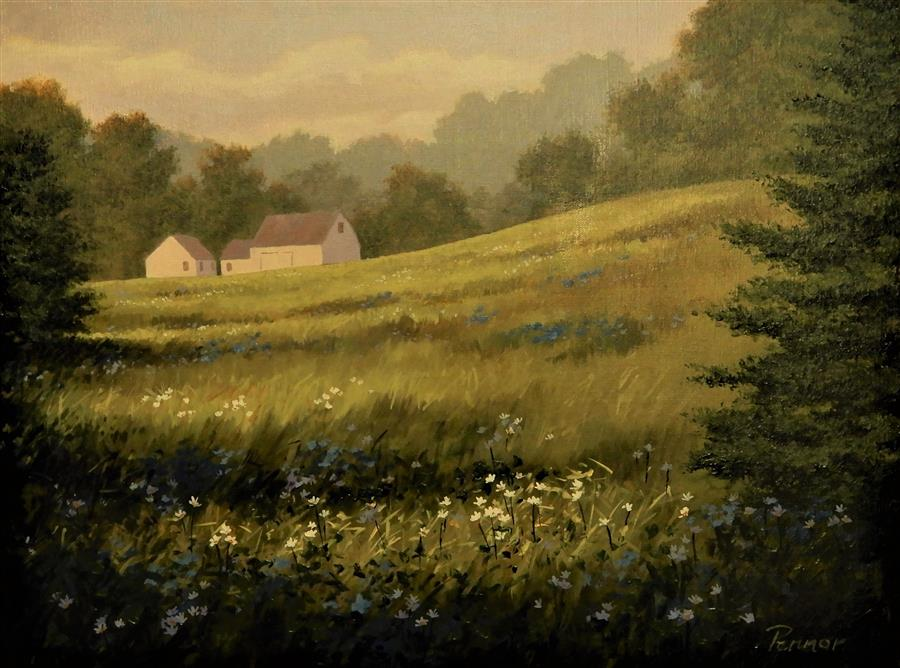 Original art for sale at UGallery.com | Hillside Meadow by Robert Pennor | $925 | acrylic painting | 18' h x 24' w | ..\art\acrylic-painting-Hillside-Meadow