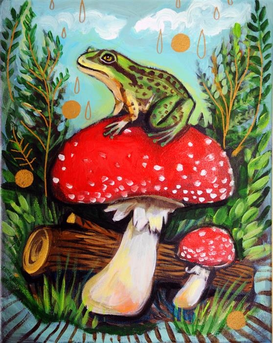 Original art for sale at UGallery.com | Frog Prince by KIRA YUSTAK | $450 |  | 14' h x 11' w | ..\art\acrylic-painting-Frog-Prince