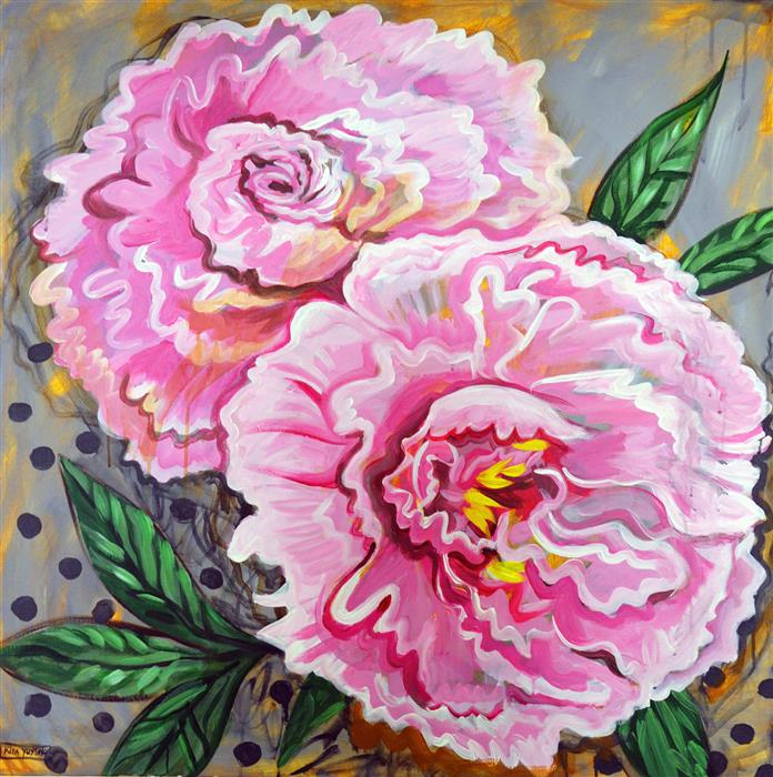 Original art for sale at UGallery.com | Peonies by KIRA YUSTAK | $1,750 |  | 36' h x 36' w | ..\art\acrylic-painting-Peonies-59736