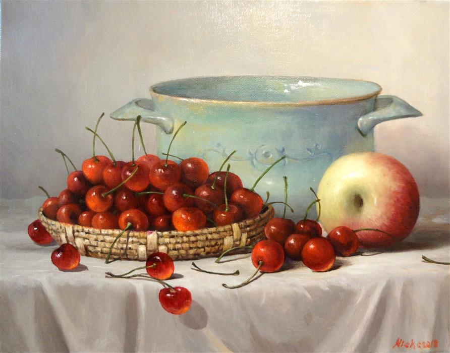Original art for sale at UGallery.com | Still Life with Cherry by NIKOLAY RIZHANKOV | $625 |  | 11' h x 14' w | ..\art\oil-painting-Still-Life-with-Cherry