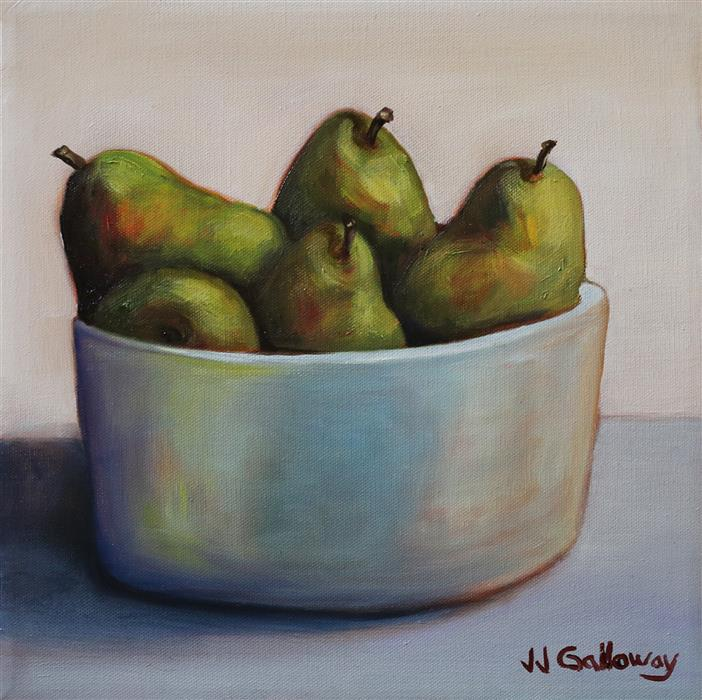 Original art for sale at UGallery.com | Group of Pears by JJ Galloway | $425 | oil painting | 12' h x 12' w | ..\art\oil-painting-Group-of-Pears