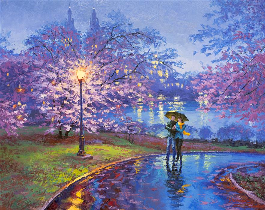 Original art for sale at UGallery.com | Lilac Magic, Evening in Central Park by STANISLAV SIDOROV | $1,775 |  | 24' h x 30' w | ..\art\oil-painting-Lilac-Magic-Evening-in-Central-Park