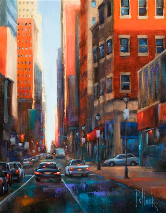 Original art for sale at UGallery.com | Chestnut Street, Philadelphia by SARAH POLLOCK | $1,325 |  | 20' h x 16' w | ..\art\oil-painting-Chestnut-Street-Philadelphia