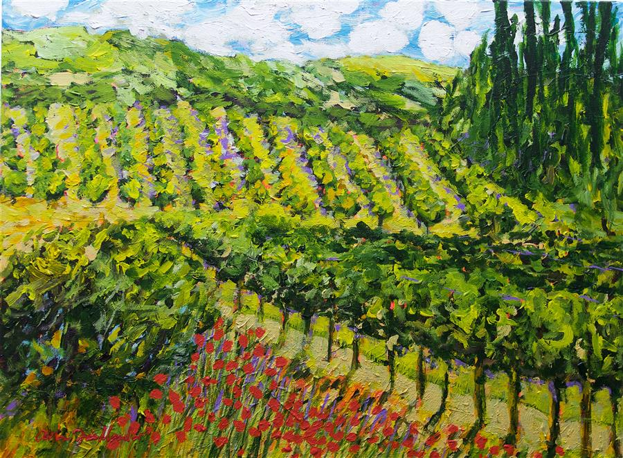 Original art for sale at UGallery.com | Mountain Vineyard by ALLAN P. FRIEDLANDER | $875 |  | 18' h x 24' w | ..\art\acrylic-painting-Mountain-Vineyard