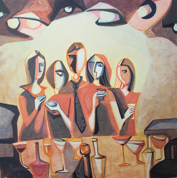 Original art for sale at UGallery.com | Corner of a Bar by DIANA ELENA CHELARU | $950 |  | 20' h x 20' w | ..\art\acrylic-painting-Corner-of-a-Bar