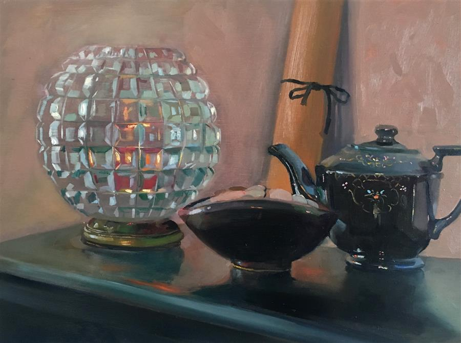 Original art for sale at UGallery.com | Still Life with Grandma's Teapot by CARL  GRAUER | $675 |  | 12' h x 16.12' w | ..\art\oil-painting-Still-Life-with-Grandma-s-Teapot