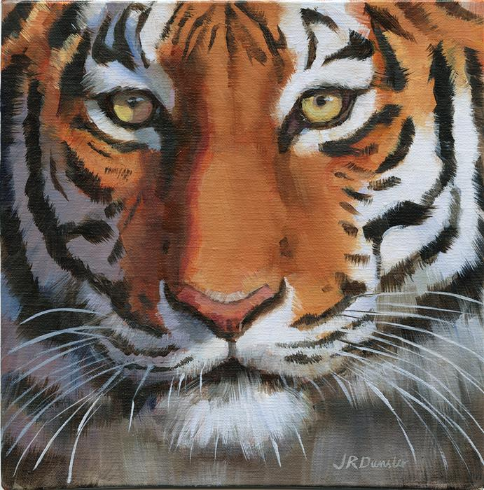 Original art for sale at UGallery.com | Close-Up Tiger by J. DUNSTER | $350 |  | 8' h x 8' w | ..\art\oil-painting-Close-Up-Tiger