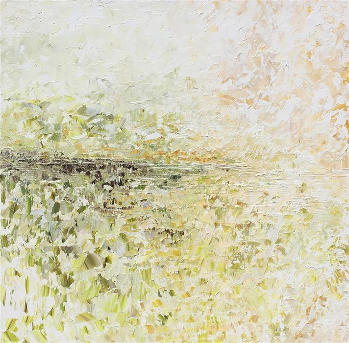 Original art for sale at UGallery.com | Clouds on Man Tor by RUTH LAGUE | $3,750 |  | 36' h x 36' w | ..\art\acrylic-painting-Clouds-on-Man-Tor