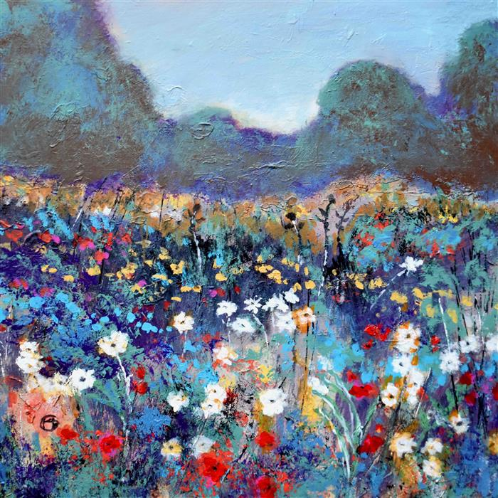 Original art for sale at UGallery.com | Spring Flowers by KIP DECKER | $2,100 |  | 30' h x 30' w | ..\art\acrylic-painting-Spring-Flowers