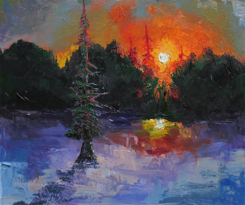 Original art for sale at UGallery.com | Cypress Lake at Sunset by WELDON BALL | $750 |  | 20' h x 24' w | ..\art\oil-painting-Cypress-Lake-at-Sunset