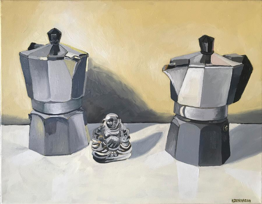 Original art for sale at UGallery.com | Coffee Bliss by RACHEL SRINIVASAN | $425 |  | 14' h x 18' w | ..\art\oil-painting-Coffee-Bliss