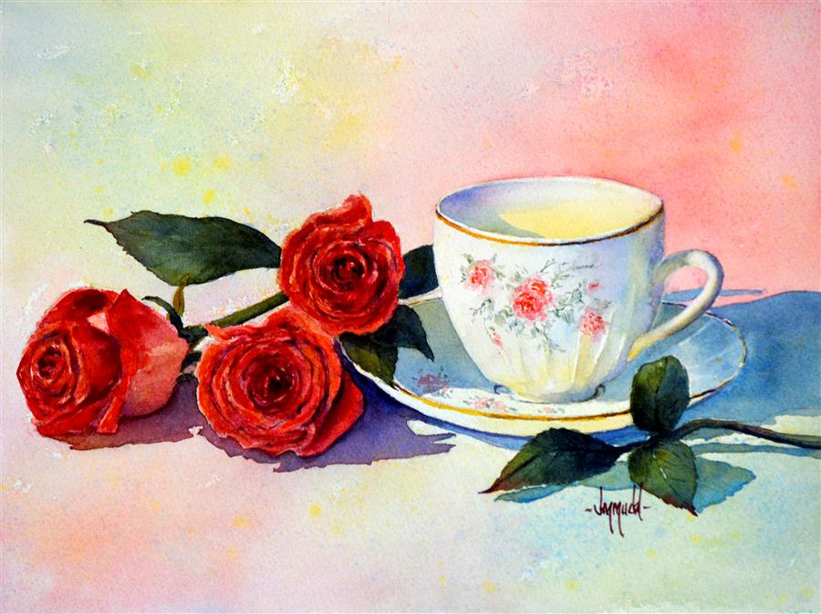 Original art for sale at UGallery.com | Teacup and Roses 2 by JUDY MUDD | $775 |  | 10.5' h x 14' w | ..\art\watercolor-painting-Teacup-and-Roses-2