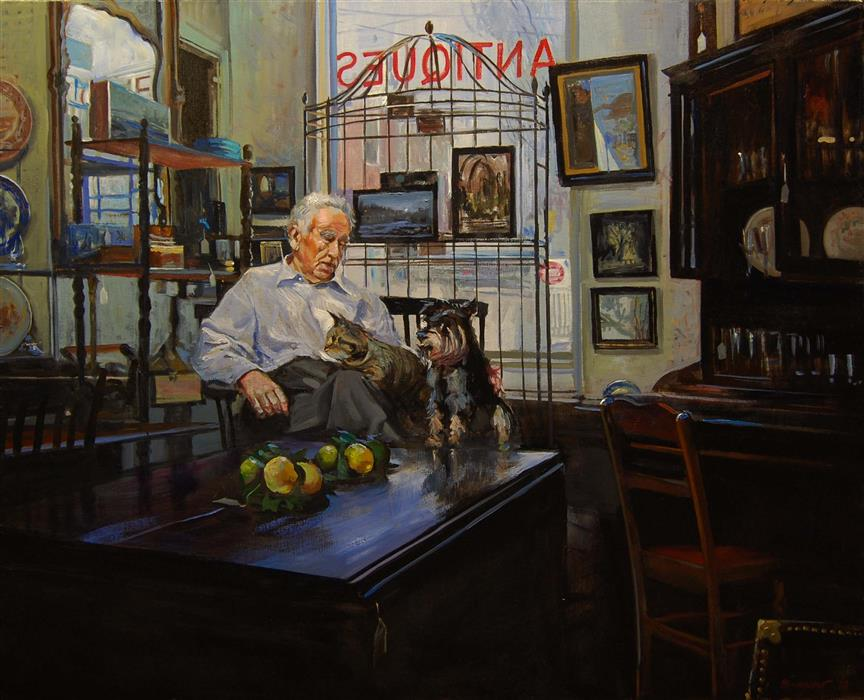 Original art for sale at UGallery.com | The Proprietor by Onelio Marrero | $1,625 | oil painting | 24' h x 30' w | ..\art\oil-painting-The-Proprietor