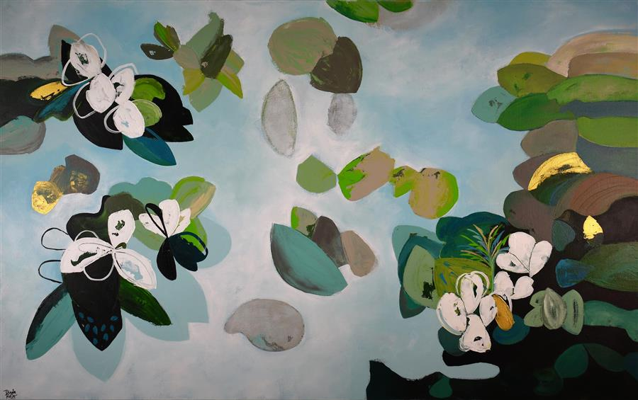 Original art for sale at UGallery.com | Green Blossom by DIANA ROSA | $3,325 |  | 30' h x 48' w | ..\art\acrylic-painting-Green-Blossom