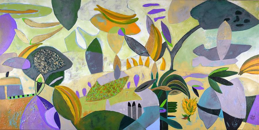 Original art for sale at UGallery.com | Going Bananas by DIANA ROSA | $2,875 |  | 24' h x 48' w | ..\art\acrylic-painting-Going-Bananas