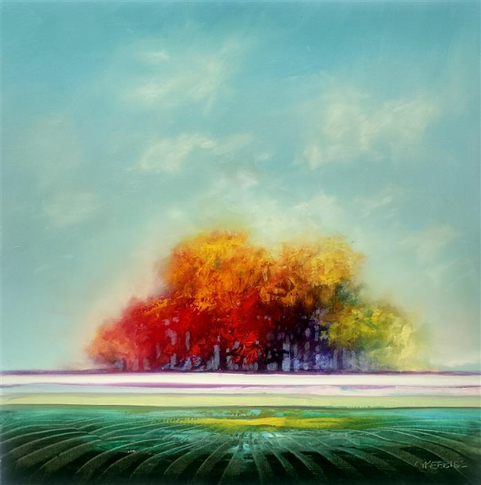 Original art for sale at UGallery.com | A Colorful Afternoon by GEORGE PEEBLES | $2,100 |  | 36' h x 36' w | ..\art\oil-painting-A-Colorful-Afternoon