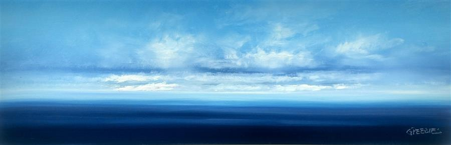 Original art for sale at UGallery.com | Water View 3 by GEORGE PEEBLES | $875 |  | 12' h x 36' w | ..\art\oil-painting-Water-View-3