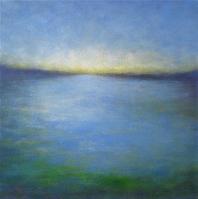 Original art for sale at UGallery.com | Last Light at the Slough by VICTORIA VEEDELL | $1,225 |  | 24' h x 24' w | ..\art\oil-painting-Last-Light-at-the-Slough