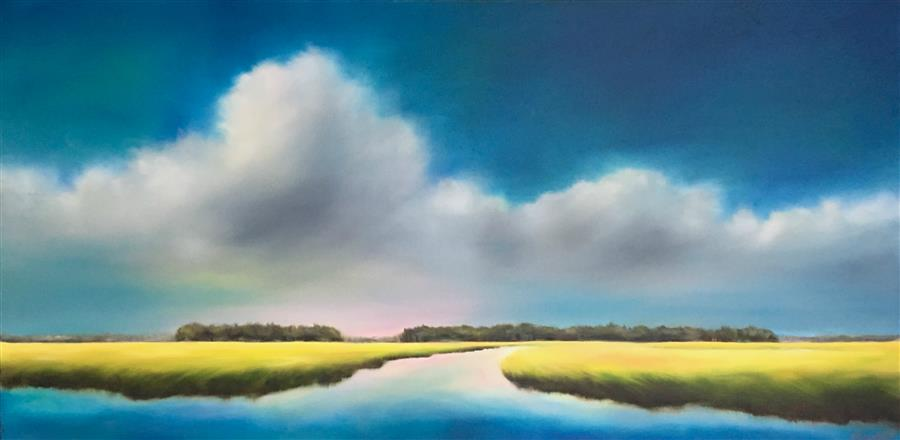 Original art for sale at UGallery.com | Summer Marsh Clouds by NANCY HUGHES MILLER | $1,125 |  | 20' h x 40' w | ..\art\oil-painting-Summer-Marsh-Clouds
