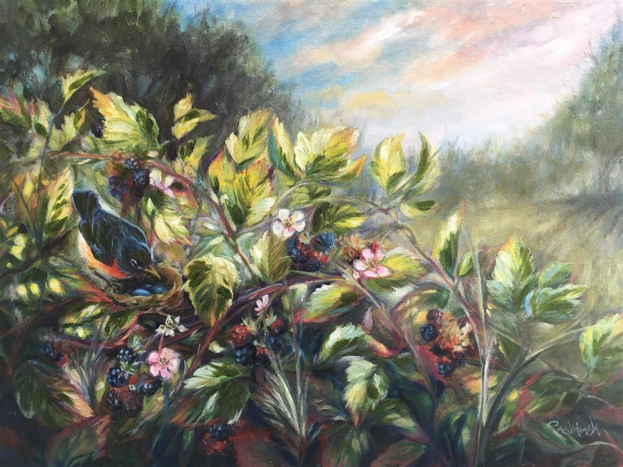 Original art for sale at UGallery.com | Blackberry Season by PANDALANA WILLIAMS | $875 |  | 18' h x 24' w | ..\art\oil-painting-Blackberry-Season