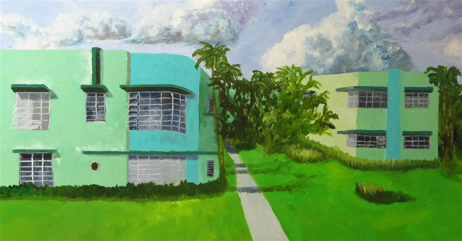 Original art for sale at UGallery.com | Green Apartments by MITCHELL FREIFELD | $1,225 |  | 21' h x 40' w | ..\art\oil-painting-Green-Apartments