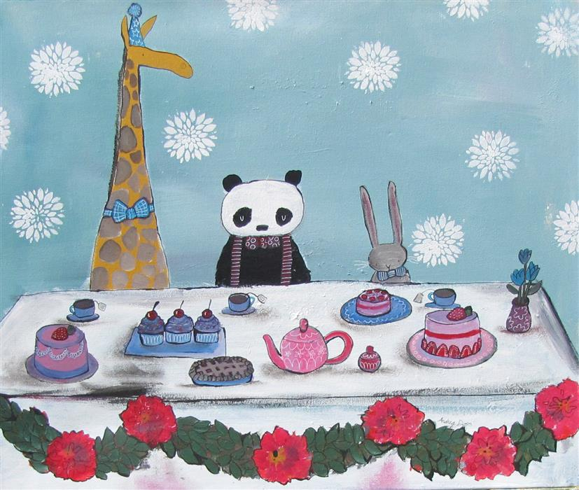 Original art for sale at UGallery.com | A Very Fancy Tea Party by ANDREA DOSS | $850 |  | 20' h x 24' w | ..\art\acrylic-painting-A-Very-Fancy-Tea-Party