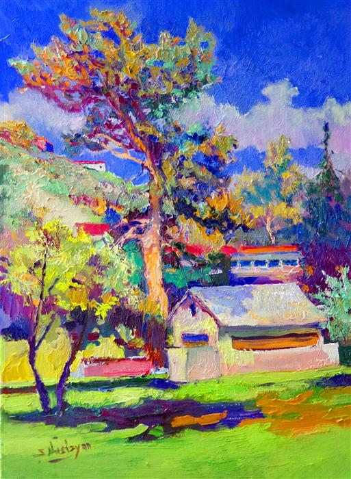 Original art for sale at UGallery.com | House Under Big Pine Tree (Midday) by Suren Nersisyan | $525 | oil painting | 24' h x 18' w | ..\art\oil-painting-House-Under-Big-Pine-Tree-Midday