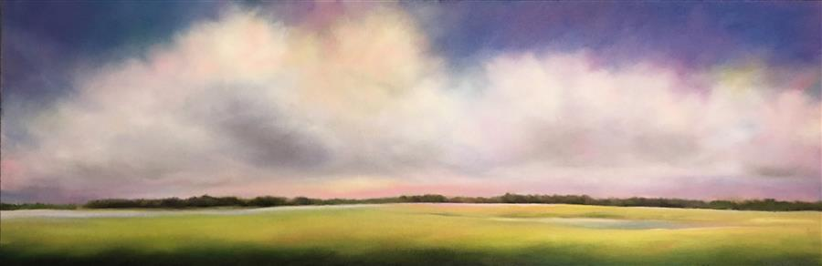 Original art for sale at UGallery.com | Marsh Clouds, Purple Sky by NANCY HUGHES MILLER | $925 |  | 12' h x 36' w | ..\art\oil-painting-Marsh-Clouds-Purple-Sky