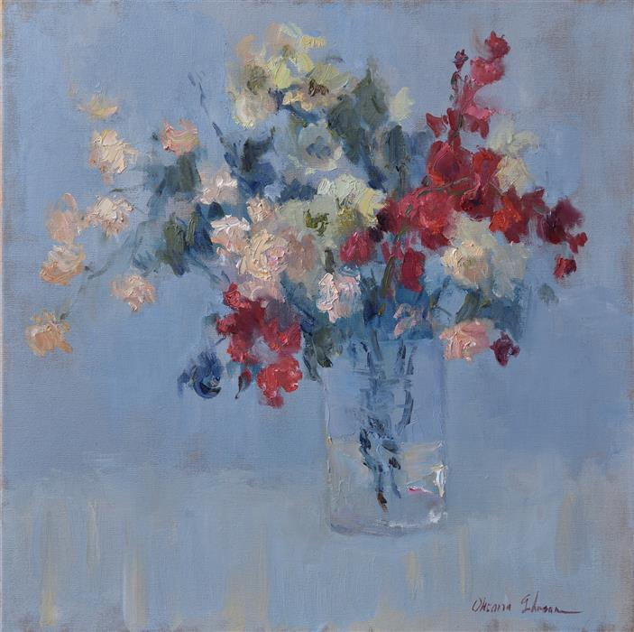 Original art for sale at UGallery.com | Her Favorite Flowers by OKSANA JOHNSON | $1,450 |  | 20' h x 20' w | ..\art\oil-painting-Her-Favorite-Flowers