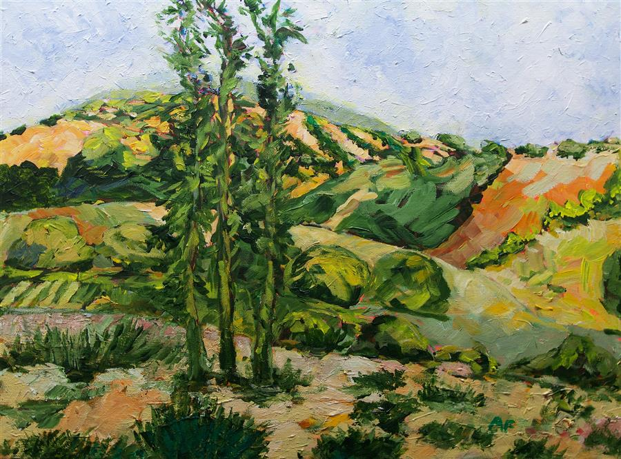 Original art for sale at UGallery.com | Top of the Hill by Allan P. Friedlander | $600 | acrylic painting | 18' h x 24' w | ..\art\acrylic-painting-Top-of-the-Hill-60114