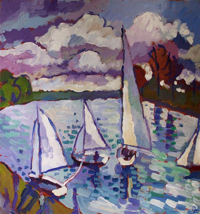 Original art for sale at UGallery.com | Sailboats by Robert Hofherr | $1,025 | acrylic painting | 24' h x 24' w | ..\art\acrylic-painting-Sailboats-60126