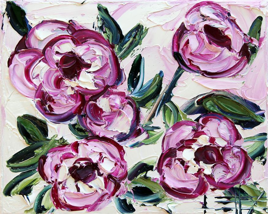 Original art for sale at UGallery.com | Pink Peonies by Lisa Elley | $300 | oil painting | 8' h x 10' w | ..\art\oil-painting-Pink-Peonies-60141