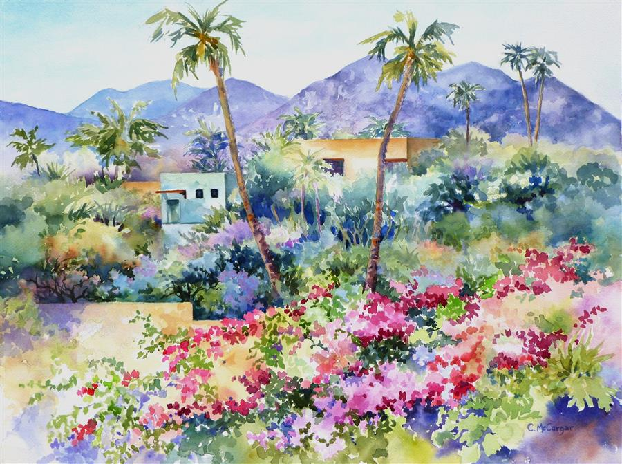 Original art for sale at UGallery.com | Oasis by Catherine McCargar | $1,500 | watercolor painting | 18' h x 24' w | ..\art\watercolor-painting-Oasis