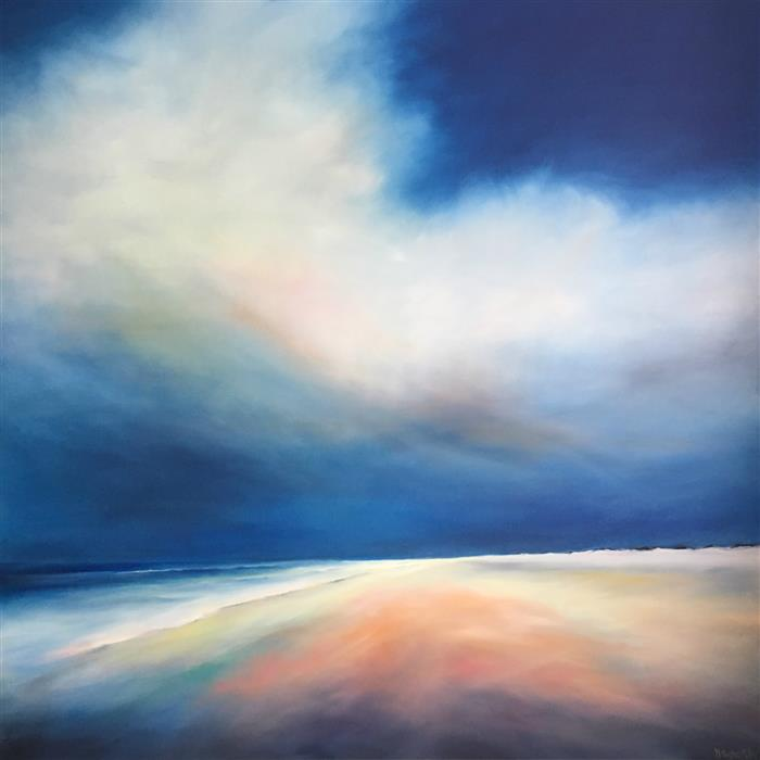 Original art for sale at UGallery.com | Blue Mood Beach by NANCY HUGHES MILLER | $3,375 |  | 48' h x 48' w | ..\art\oil-painting-Blue-Mood-Beach