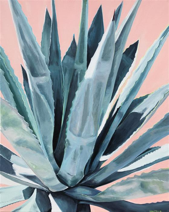 Original art for sale at UGallery.com | Agave with Coral by ALANA CLUMECK | $800 |  | 30' h x 24' w | ..\art\acrylic-painting-Agave-with-Coral