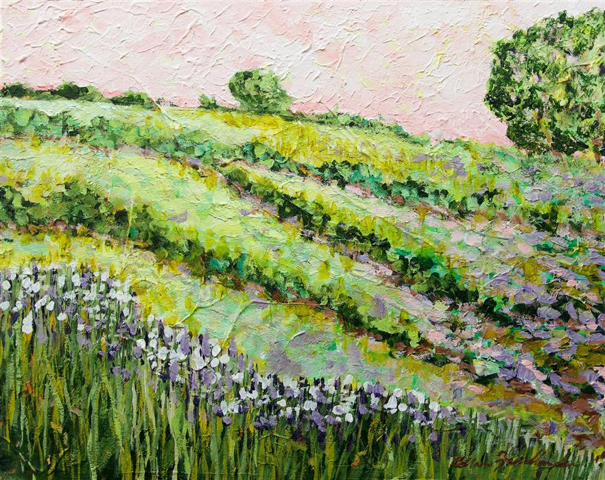 Original art for sale at UGallery.com | Morning Dew on the Irises by Allan P. Friedlander | $550 | acrylic painting | 16' h x 20' w | ..\art\acrylic-painting-Morning-Dew-on-the-Irises