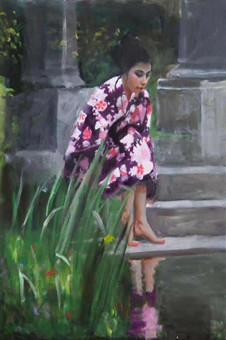 Original art for sale at UGallery.com | Woman with Reflection by JOHN KELLY | $2,950 |  | 28' h x 19.5' w | ..\art\oil-painting-Woman-with-Reflection