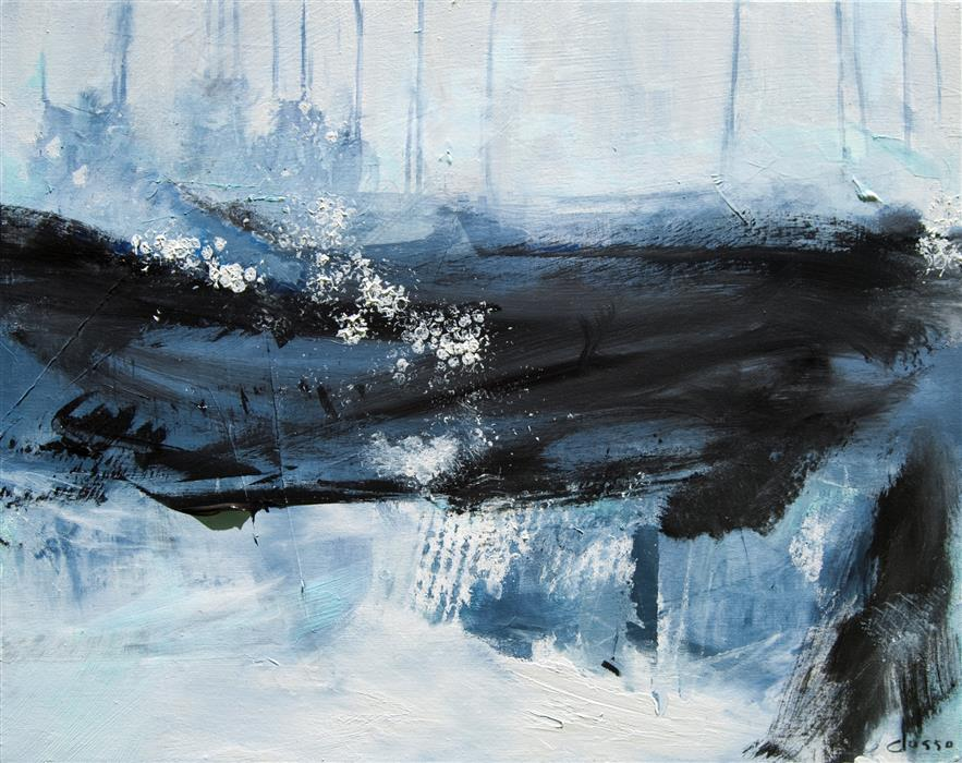 Original art for sale at UGallery.com | Ocean Rain by ANNE DOSSO-POWELL | $1,375 |  | 24' h x 30' w | ..\art\acrylic-painting-Ocean-Rain