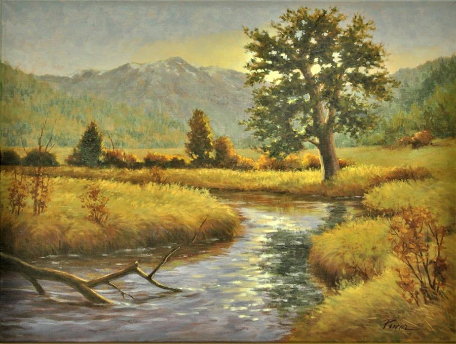 Original art for sale at UGallery.com | Estes Park Stream by Robert Pennor | $1,200 | oil painting | 18' h x 24' w | ..\art\oil-painting-Estes-Park-Stream